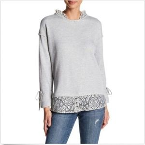 NEW Democracy Women's Knit Lace Sweatshirt Size M